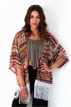 Bohemian Fringed Kimono - ΡΟΥΧΑ -> Kimono & Jackets | Made of Grace