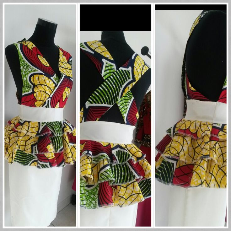Peplumed halter-neck AfricanPrint dress.