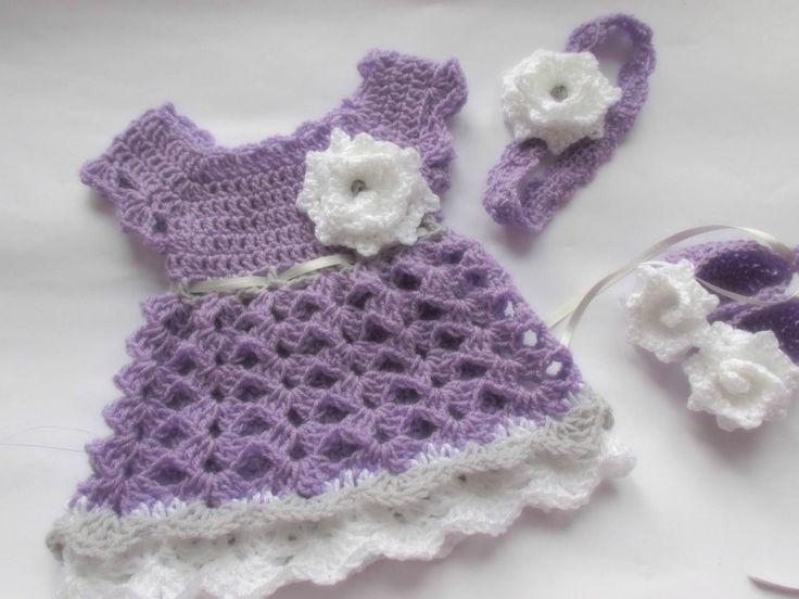 Crochet lavender baby dress, handmade dress, shoes and headband