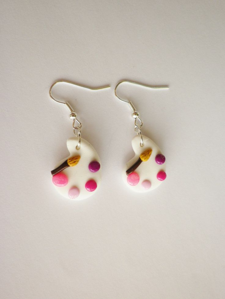 boucle fimo originale palette de peinture et pinceau rose violet fluo framboise ENVOI GRATUIT : Boucles d'oreille par fimo-relie
