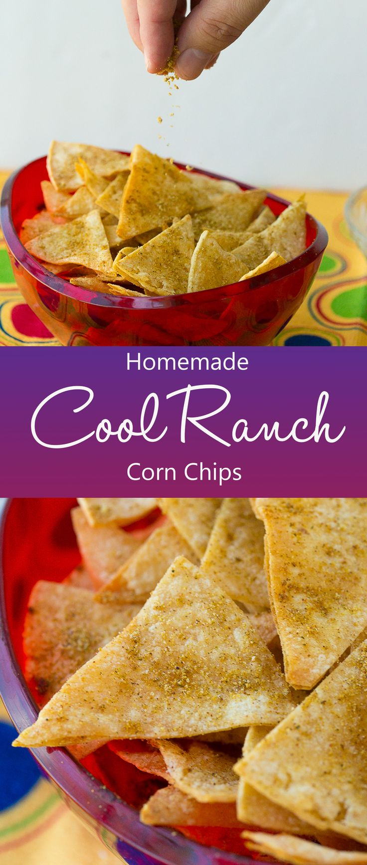 Healthy Homemade Cool Ranch Corn Chips are a healthy snack recipe that are reminiscent of the ever popular Cool Ranch Doritos, but you don't have to feel guilty about serving them to your kids! The perfect chip recipe for game day dips! Yay for football food!