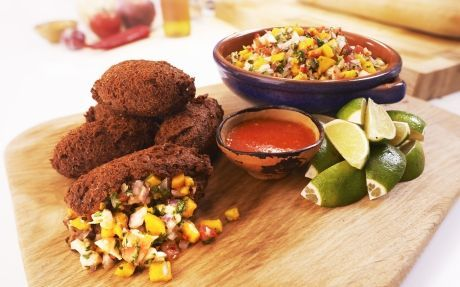 Bean Fritters with Prawn and Mango Ceviche.