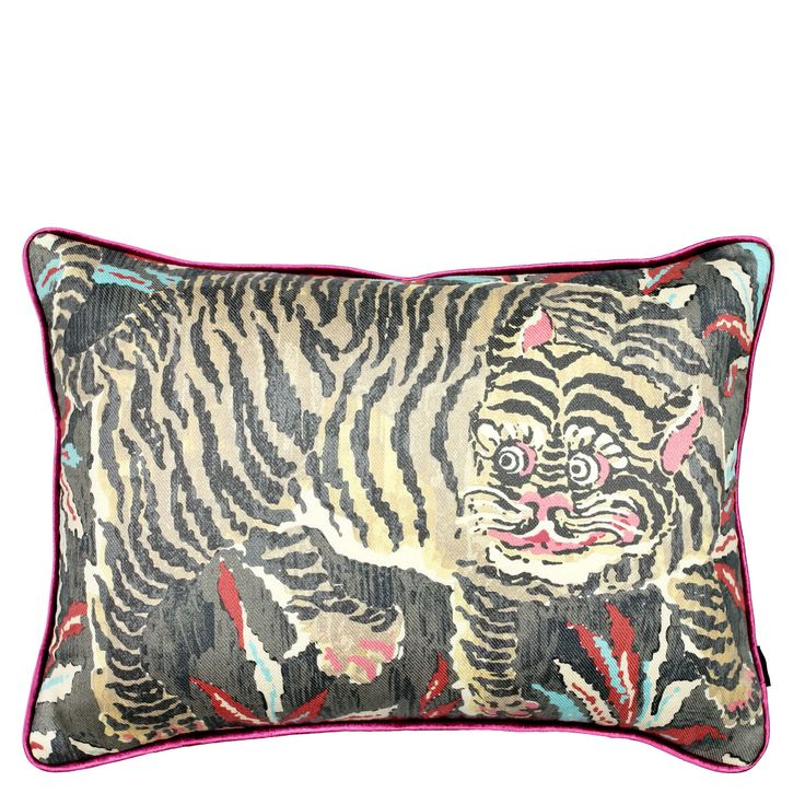 Depicting a tiger stalking the jungle. This cushion brings art and function  together. The simplicity contrasted by the fine velvet piping is  sophisticated and inspiring.      * Size: 55cm x 40cm     * Insert: 100% premium feather     * Hidden zipper     * Front: cotton/linen twill     * Back: linen blend     * Piping: velvet Free returns for 7 daysFree shipping on all orders