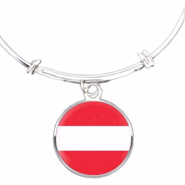 Austrian Flag Bangle Bracelet
