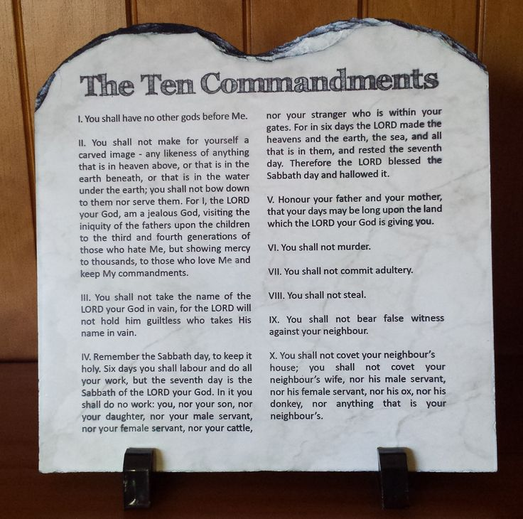The Ten Commandments - full scripture version.  Handcrafted slate stone plaque with inspirational message, footrests and gift box included.    Limited stock available - http://www.biblestonesaustralia.com.au
