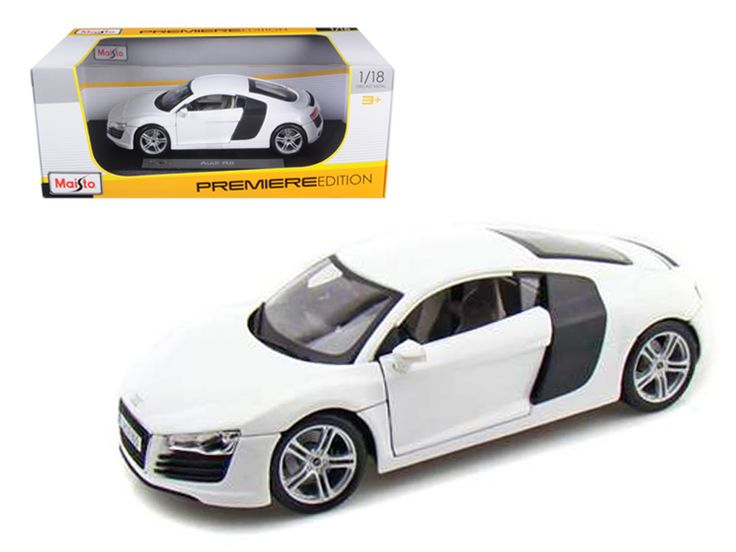 Audi R8 White 1/18 Diecast Model Car by Maisto - Brand new 1:18 scale diecast model of Audi R8 die cast car by Maisto. Has steerable wheels. Brand new box. Rubber tires. Has opening hood, doors and trunk. Made of diecast with some plastic parts. Detailed interior, exterior, engine compartment. Dimensions approximately L-10, W-4, H-3.25 inches. Please note that manufacturer may change packing box at anytime. Product will stay exactly the same.-Weight: 4. Height: 8. Width: 15. Box Weight: 4…