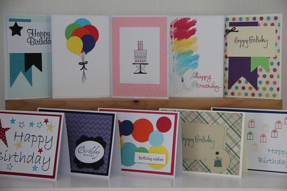 Handmade Birthday Card Set 10 25 50 Or 100 Cards Etsy Card Making Birthday Handmade Birthday Cards Birthday Cards