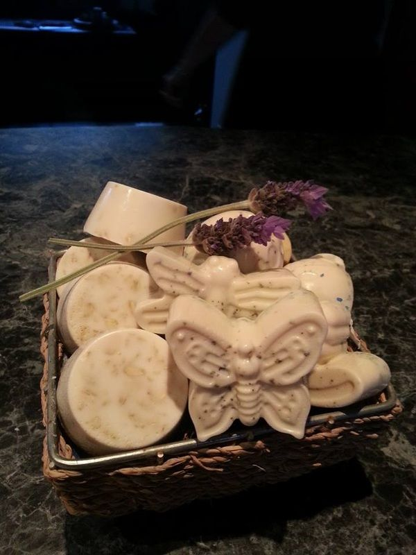 Honey, Almonds and Oats Goat Milk Soaps $8 each  Website: www.purplebutterflydesigns42.weebly.com Facebook: www.facebook.com/purplebutterflydesigns90 Instagram: www.instagram.com/purplebutterflydesigns