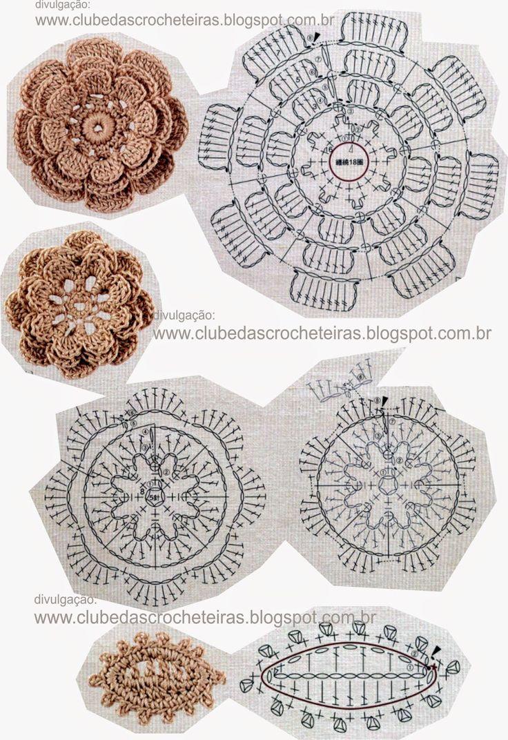 ergahandmade: 50 Crochet Flowers + Diagrams