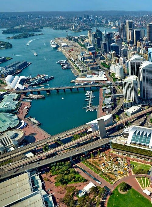 Sydney Harbour / Overlooking Darling Harbour, with the Barangaroo site (the open space top centre) which is presently under construction (2014)