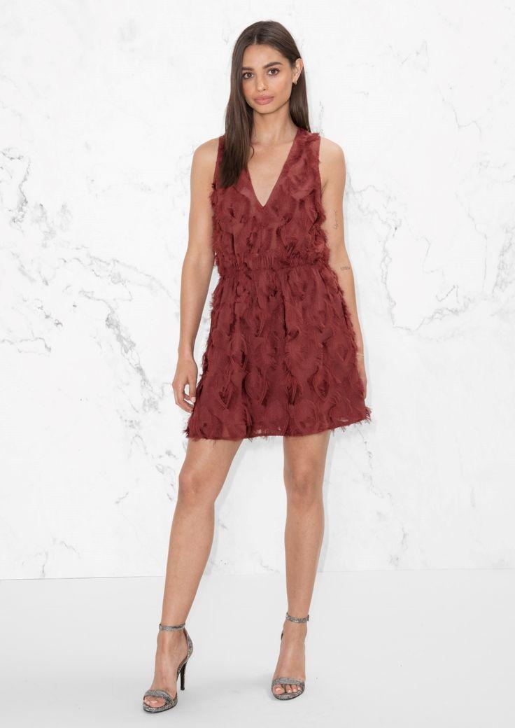 & Other Stories image 2 of Fringe Mini Dress in Burgundy