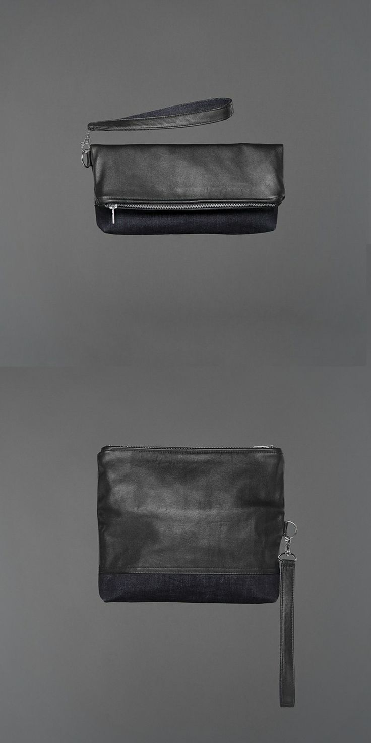 Sally Clutch - denim & recycled leather http://ervinlatimer.com/product/sally-clutch