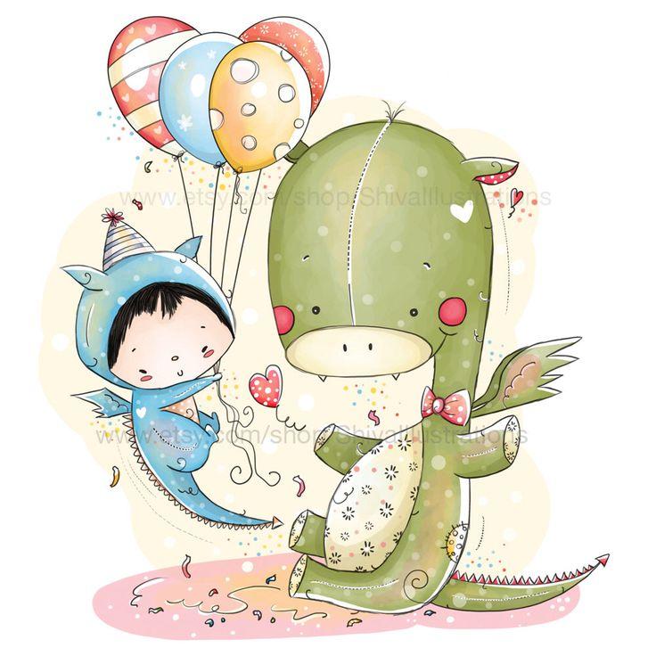 """Palloncini bambini illustrazione - compleanno - poco carino drago, Baby Boy compleanno, 5 x 7"""" di ShivaIllustrations su Etsy https://www.etsy.com/it/listing/207938523/palloncini-bambini-illustrazione"""