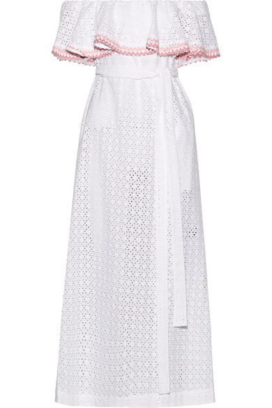 Lisa Marie Fernandez - Mira Off-the-shoulder Rickrack-trimmed Broderie Anglaise Cotton Midi Dress - White