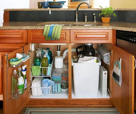 Commandeer the Sink Cabinet via BHG. Our under the sink cabinet desperately needs some of this.