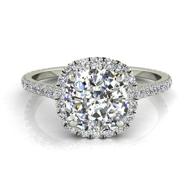 Bague de fiançailles solitaire bague diamant coussin 0,80 carats or blanc Camogli-coussin