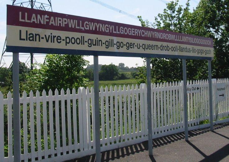 Llanfairpwllgwyngyllgogerychwyrndrobwllllantysiliogogogoch station sign (cropped version 1) - Wikipedia:Unusual place names - Wikipedia