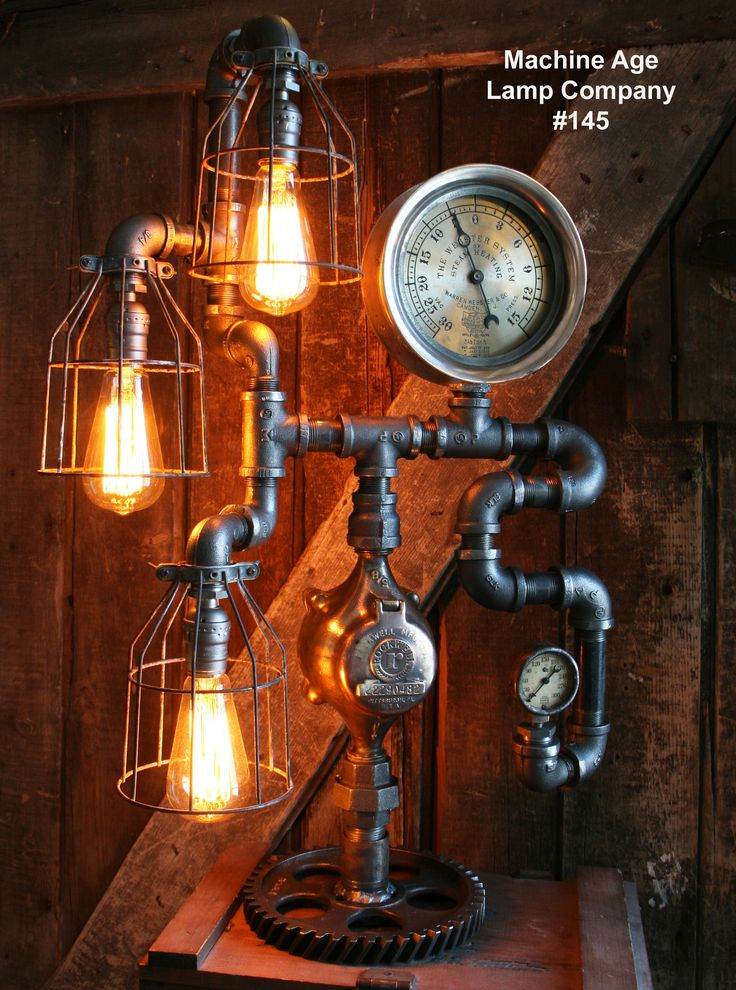 203 best machine age lamp company images on pinterest machine steampunk lamp steam gauge industrial 145 sold greentooth Gallery
