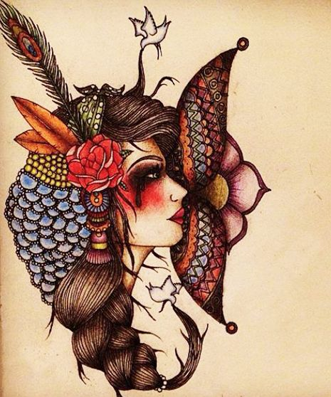 A gypsy girl tattoo design Inspired by the Day of the Dead and the Aztec Period, in Mexican Culture
