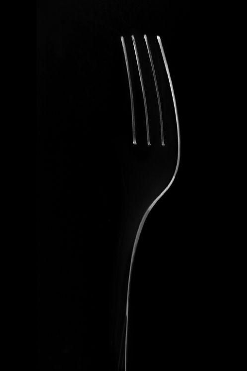 Een doodgewone simpele vork. Ik vind dat dit er toch in moet omdat Sabine toch vaak met de gedachte zat tijdens het eten 'kon ik met die vork hem maar vermoorden'.