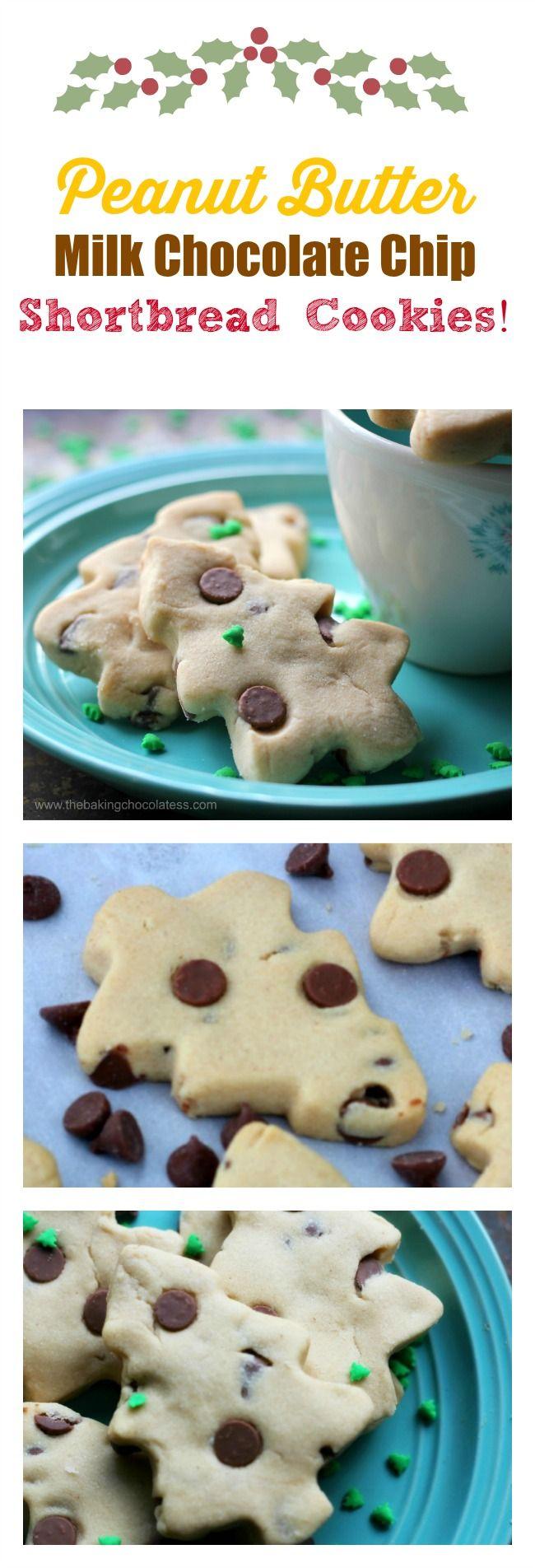 Peanut Butter Milk Chocolate Chip Shortbread Cookies! via @https://www.pinterest.com/BaknChocolaTess/