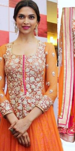 Deepika Padukone in Orange Anarkali Suit. Buy Bollywood Designer Dress Online from Designers at Nallu Collection across World