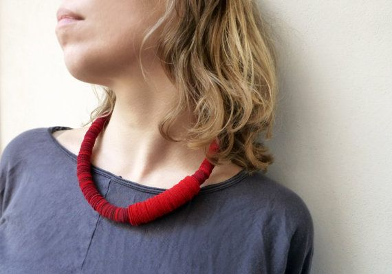 geometric felt necklace with red and oxblood circles - contremporary minimalist jewelry