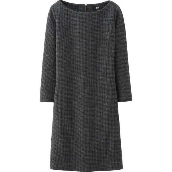 UNIQLO Women Wool Ponte Dress ($5.90) ❤ liked on Polyvore featuring dresses, grey, wool dress, gray dresses, uniqlo dress, 3/4 sleeve dress and gray wool dress