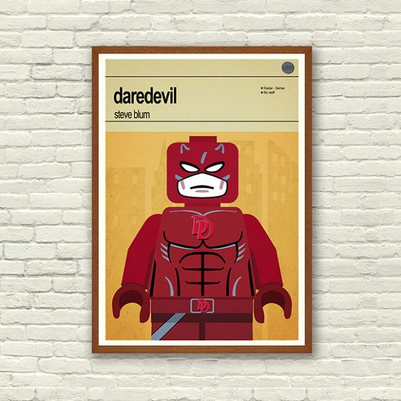 Lego Superhero Print - Daredevil  This is a stylish poster print of the Lego Marvel Super Hero Daredevil, fit to grace any man cave or children's bedroom. Hand drawn with a graphics tablet and pen this print is styled with typography and features the actor who voiced Daredevil in the Lego Marvel Super Heroes game and the Lego Super Hero abilities.