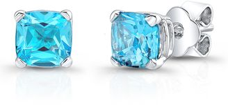 Ice 5 1/2 CT TW Cushion-Cut Swiss Blue Topaz 14K White Gold Solitaire Stud Earrings - Shop for women's tops