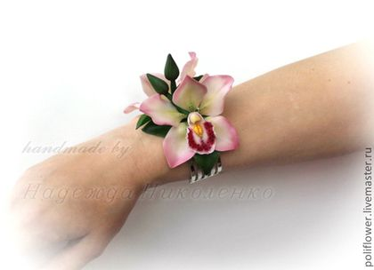 """Браслеты ручной работы. Ярмарка Мастеров - ручная работа. Купить Браслет с орхидеями """"Розовые сны"""".. Handmade. Розовый, браслет"""