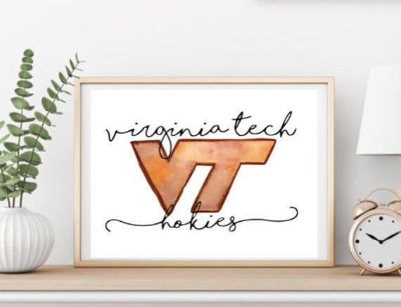 Virginia Tech Watercolor Wall Art Printable Etsy In 2020 Virginia Tech Crafts Watercolor Wall Art Virginia Tech