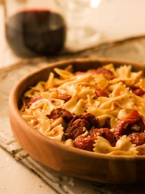 Chef Michael Smith | recipe | Farfalle with Roasted Tomato Garlic Sauce: Roasting reveals a deep, satisfying flavour hidden in tomatoes. This will become one of your favourite ways to dress up pasta.