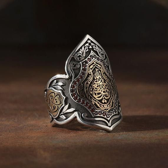 Thumb Ring in Silver with Arabic Calligraphy Hand-Engraved Men Jewelry