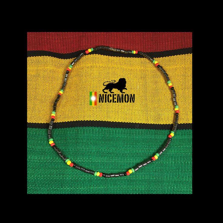 "Hematite Necklace Choker Rasta Beads Marley Reggae Jamaica Hawaii 18"" or 46 cm"