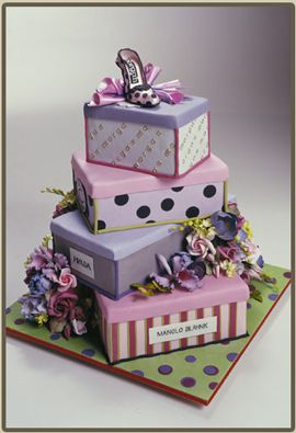 Tiered shoe box cake - but a charming way to present shoe boxes covered with charming papers and filled with goodies