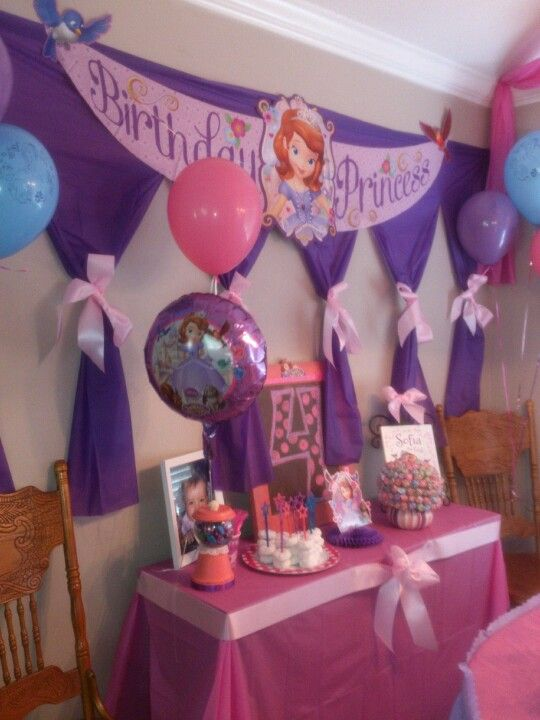 Sofia the first party by Lara Talley backdrop made with 99Cent table cloth