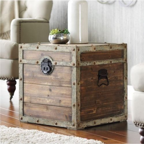Antique Vintage Storage Trunk Rustic Brown Box Side End Table Chest Side coffee