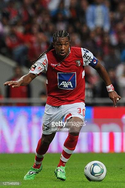 Alan of SC Braga in action during the Liga Portugal match between SC Braga and CD Nacional at the Estadio Municipal de Braga on September 25 2011 in...