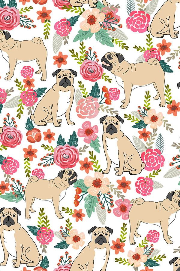 pug flowers florals spring cute flowers pink spring by petfriendly - Pink, orange, and peach flower illustrations with playful pugs on wallpaper, fabric, and gift wrap. pug flowers florals spring cute flowers pink spring by petfriendly - Pink, orange, and peach flower illustrations with playful pugs on wallpaper, fabric, and gift wrap.