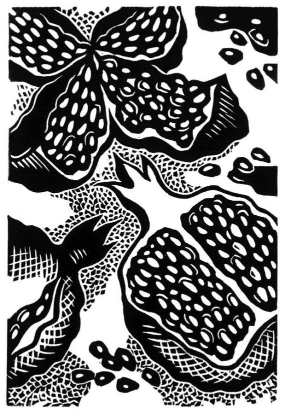 """beautiful linocut - """"Pomegranate Seeds""""  by N. Moroz- etsy"""