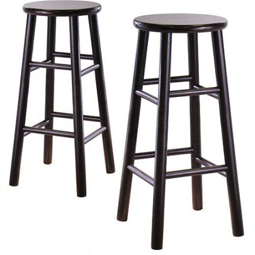 "30"" Classic Bar Stools Set of 2 Sturdy Comfortable Wooden Kitchen Stool Espresso"