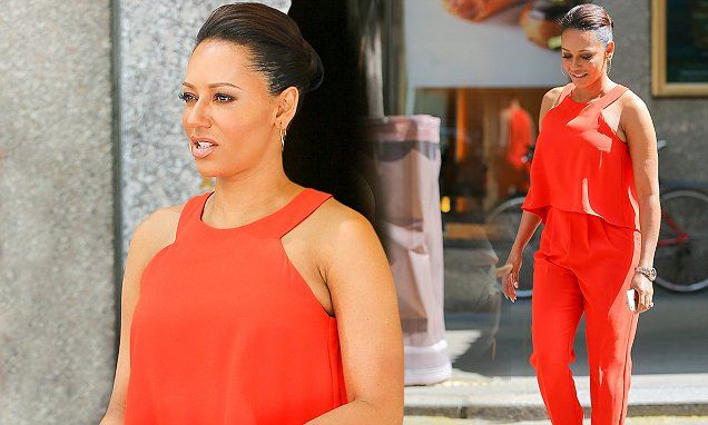 Mel B opts for comfort over style in baggy orange ensemble in New York