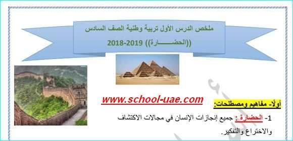 ملخص الدرس الاول اجتماعيات الحضارة للصف السادس الفصل الاول Social Studies School Study