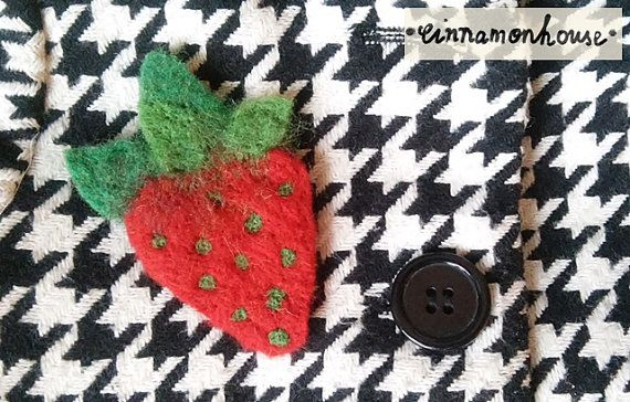 Strawberry    felt brooch. Handmade one on it's by cinnamonnhouse