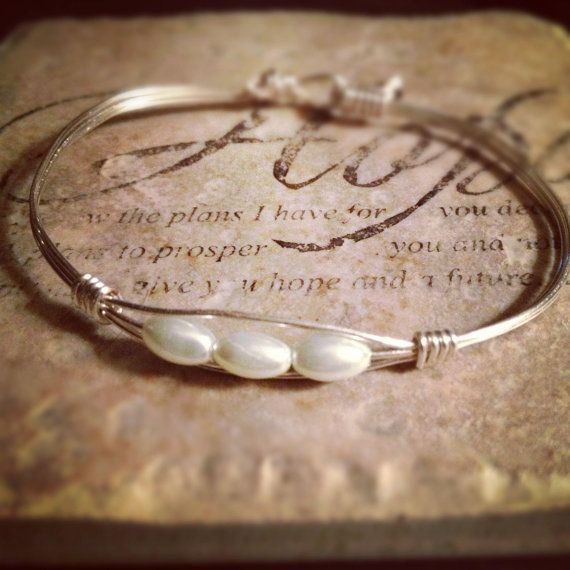 Silver Wire wrapped bracelet with 3 pearls by jenniferfarrar, $23.00