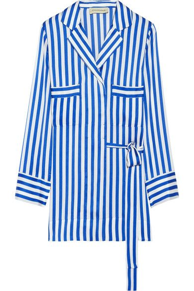 Blue and white striped satin Concealed button fastenings through front 100% polyester; trim: 100% silk Machine wash Imported