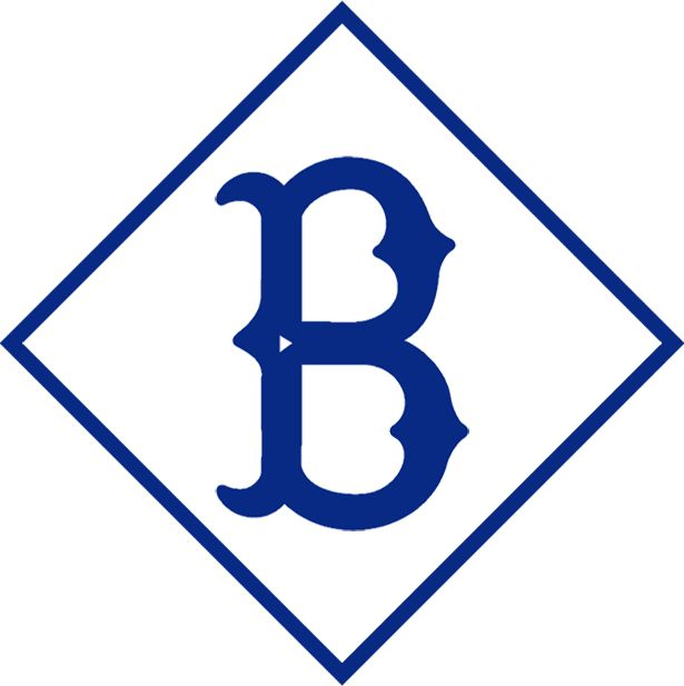 MLB Brooklyn Dodgers Primary Logo (1912) - An old fashioned 'B' in navy blue, inside a blue diamond