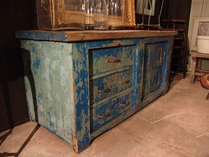 French Vintage Industrial Work Furniture In Blue   SOLD