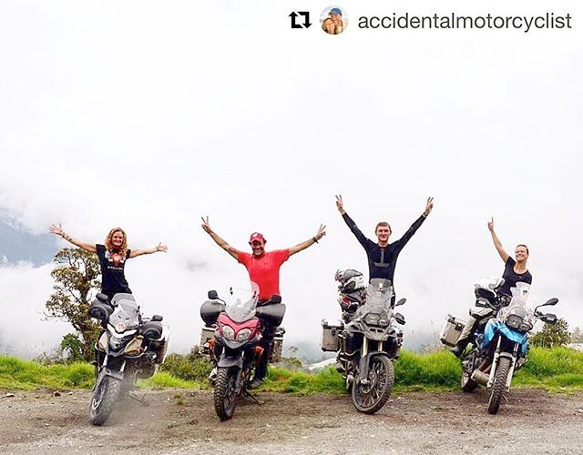 """Ha ha, love the picture and the comment 😂👍#Repost @accidentalmotorcyclist with @repostapp ・・・ It seems that hanging around with another motorcycling couple doubles the fun and also the silliness 😂Or perhaps it's just the #aussie #lithuanian combo? 😎🏍👍#motorcyclemadness #intotheclouds #balance #ecuador #travelgram #instamoto #adventure #girlswhoride #womenonwheels #motolife #bmwmotorrad #vstrom650xt #honda #cb500x #bmw #bmwmotorrad #F650GS #F800GSA #2wheeledAdventures…"